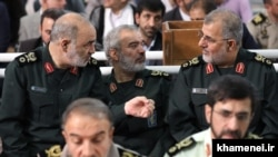 Top IRGC commanders (L2R) Major General Salami, rear admiral Ali Fadavi and Brigadier General Mohammad Pakpour in the Fitr Prayer in Tehran on June 26, 2017.