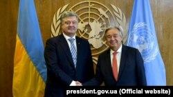 Президент України Петро Порошенко і генеральний секретар ООН Антоніу Ґутерреш (праворуч). Київ (архівне фото)