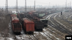 Empty coal wagons parked near the Metallurgical Works plant in Yenakiyeve in the Donetsk region at the end of February.