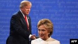 Кандидат в президенты США от Демократической партии Хиллари Клинтон и кандидат от Республиканской партии Дональд Трамп. Лас-Вегас, 19 октября 2016 года.