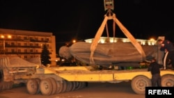 The giant bronze statue of Soviet dictator Josef Stalin was removed from its pedestal on the central square of his hometown of Gori on June 25, 2010.