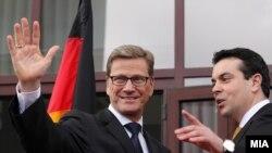 Ministri i Punëve të Jashtme të Gjermanisë Guido Westerwelle gjatë vizitës në Maqedoni