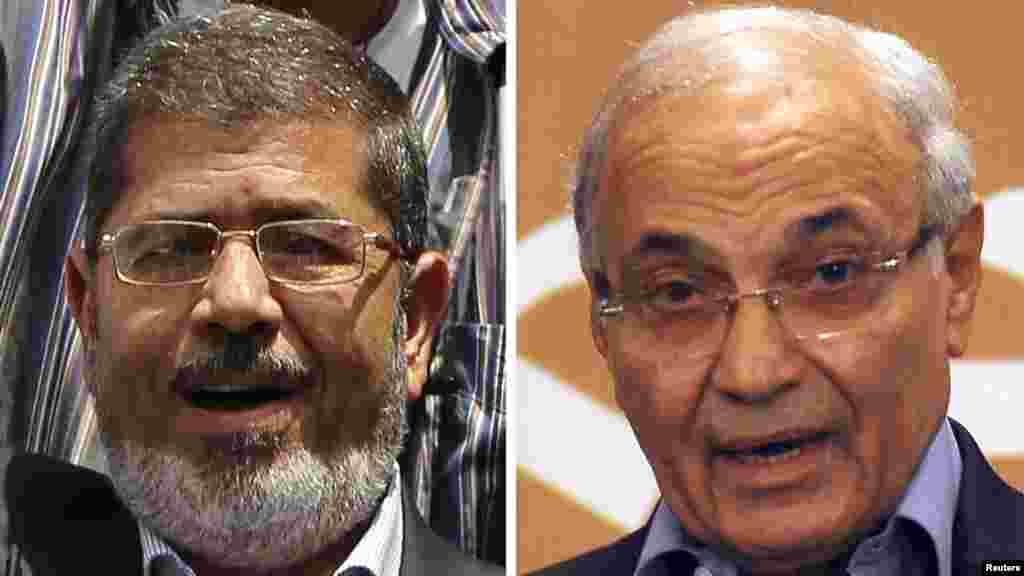 Екі кандидат Мохаммед Мурси (сол жақта) мен Ахмед Шафиктің суреттері