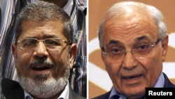 A combo photo of Muhammad Morsi (left) and Ahmed Shafiq