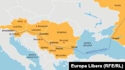 Ruta propusă pentru Magistrala Sudică potrivit Gazprom, decembrie 2012.