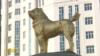Turkmenistan. President Berdymukhamedov unveils golden monument to Alabai dog in Ashgabat. November 2020