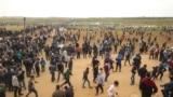 Palestinalylar Gaza sektorynda protest geçirýär. 30-njy mart, 2018 ý.
