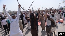 Pakistani supporters of convicted murderer Mumtaz Qadri shout slogans during an anti-government protest in Islamabad in March 2016.