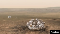 An illustration of the European-Russian space probe, the Schiaparelli, which crashed landed on Mars last week.