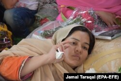 Jalila Haider sit in a hunger-strike camp to protest the targeted killings of the Hazara community in Quetta in May 2018.