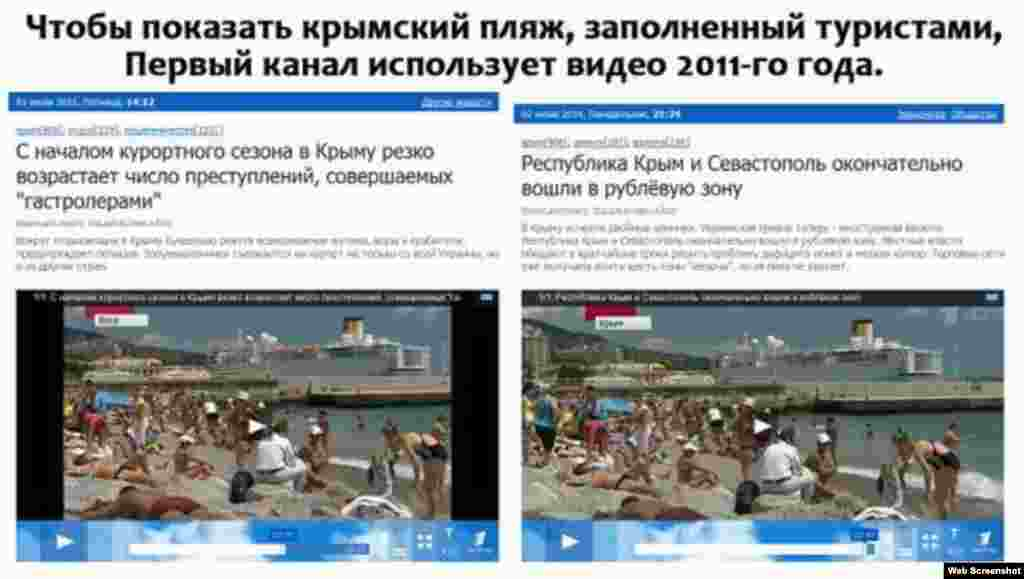 Russia's Channel One television used this archive 2011 footage of a packed Crimean beach to illustrate a current story about the peninsula adopting the Russian ruble.