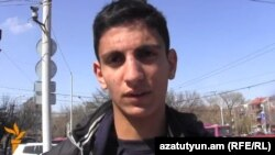 Armenia - Shahen Harutiunian, the 15-year-old son of an arrested opposition activist, speaks to RFE/RL after being charged with hooliganism, Yerevan, 2Mar2014.