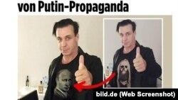 Сравнение оригинальной фотографии Тиля Линдеманна в Москве (справа) и ее вариант, опубликованный в российских СМИ (коллаж Bild.de)