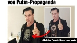Till Lindemann of Rammstein band is shown in the original photo and Sputnik fake. (Bild.de screenshot)