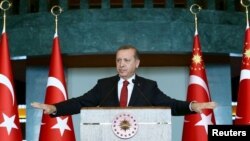 Turkey -- Turkish President Tayyip Erdogan addresses the audience during a meeting in Ankara, January 12, 2016