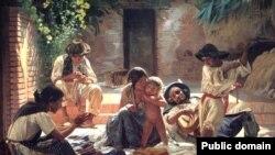 """Карціна Эўграфа Сарокіна """"Гішпанскія цыганы"""", 1853"""