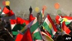 تجمع حمایت از همه پرسی استقلال در روز جمعه در اقلیم کردستان عراق.