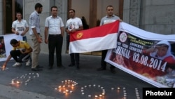 Armenia - Ethnic Yazidi activists commemorate in Yerevan's Liberty Square the third anniversary of atrocities committed against their ethnic kin in Iraq, 3Aug2017.