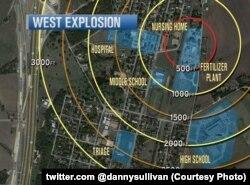 Карта города Вест, где произошел взрыв