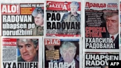 Serbian newspapers deliver the news about Karadzic's arrest.