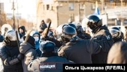 Протесты в Хабаровске в поддержку оппозиционера Алексея Навального. 23 января 2021 года.