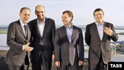 EU leaders had their first chance to size up Medvedev (second from right)