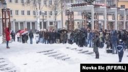 """""""Nećemo prestati sa protestima"""", poručila okupljenima Teodora Zarić."""