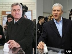 Tomislav Nikolić lider SNS-a i Boris Tadić predsednik DS-a na glasanju u Beogradu, februar 2008.