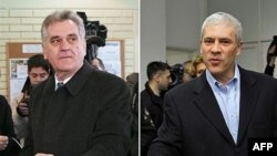 Борыс Тадзіч (зьлева) і Томіслаў Нікаліч галасуюць на прэзыдэнцкіх выбарах у Сэрбіі