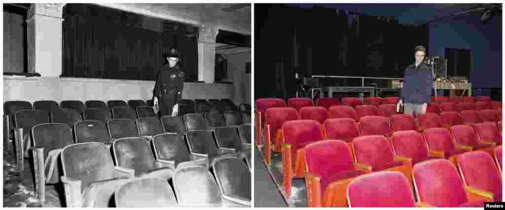 Left photo: An unidentified uniformed police officer in 1963 points at a seat in the Texas Theatre in Dallas where Oswald sat. Right photo: George Quartz, the events coordinator for the Texas Theatre, poses for a photograph at the same location on November 8, 2013.