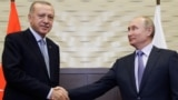 RUSSIA -- Russian President Vladimir Putin and Turkish President Recep Tayyip Erdogan meet in Sochi, October 22, 2019