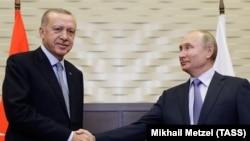 Президент Турции Реджеп Тайип Эрдоган и президент России Владимир Путин в Сочи. 22 октября 2019 г.