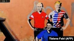 Граффити в Риме: Путин, Трамп и Конте. Снимок сделан в центре Рима 14 июня 2018 года.