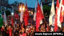 Novi Pazar, protest podrške Erdoganu, 07.08.2016.