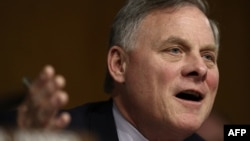 Senate Select Intelligence Committee chairman, Senator Richard Burr, questions witnesses during a hearing on Russia's alleged interference in the U.S. presidential election.