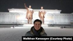 Уәлихан Қарасаев, қазақстандық заңгер, турист. Пхеньян, 9 қаңтар 2016 жыл