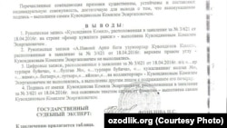 Fermer Komiljon Quvondiqov nomidan yozilgan ariza qalbaki ekanligi haqida ekspert xulosasi