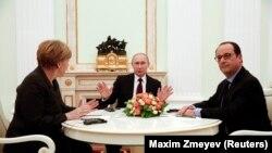 Германия Орусия жана Франция лидерлери. Москва, 6-февраль, 2015