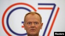 Председателя на Европейския съвет Доналд Туск по време на срещата на Г-7 във френския град Биариц