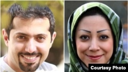 Two of the young Iranian political activist detained on December 19: Hadi Heydari (left) and Fatemeh Arabsorkhi
