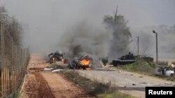 На місці нападу на ізраїльський патруль біля села Аль-Гаджар на кордоні Ізраїлю й Лівану, 28 січня 2015 року