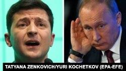 Украина президенті Владимир Зеленский (сол жақта) және Ресей президенті Владимир Путин.