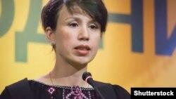 Тетяна Чорновол на з'їзді партії «Народний фронт», вересень 2014 року