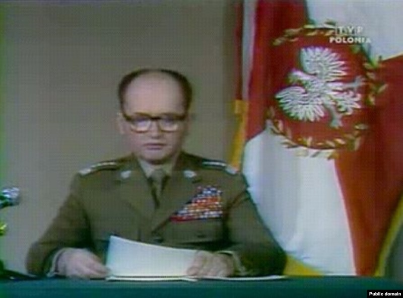 Jaruzelski announcing martial law on Polish TV