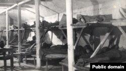 Кримські татари в депортації. Табірний барак. Волголаг, початок 1940-х