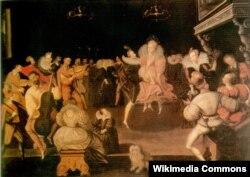 Маркус Гирертс Младший (?). Королева Елизавета танцует вольту с Робертом Дадли, графом Лестером. Около 1580
