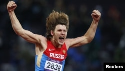 Russia's Ivan Ukhov reacts after winning the men's high jump final during the London 2012 Olympic Games.