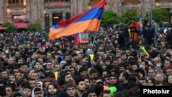 Armenian opposition supporters demonstrate in Republic Square in Yerevan on April 21.