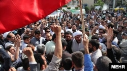 The demonstration ended after Tehran police chief Hossein Sajedinia appeared and pleaded for it to end.