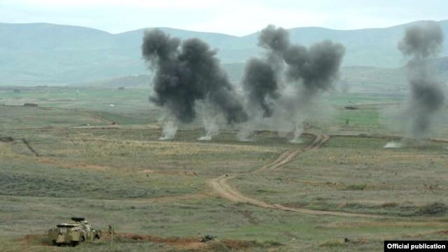 Nagorno-Karabakh - Karabakh Armenian soldiers hold military exercises in 2012.